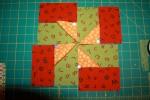 BLOCK TWO Zigs Pinwheels Red Green Orange