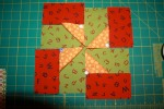 BLOCK TWO Zigs Pinwheels Red Green Orange