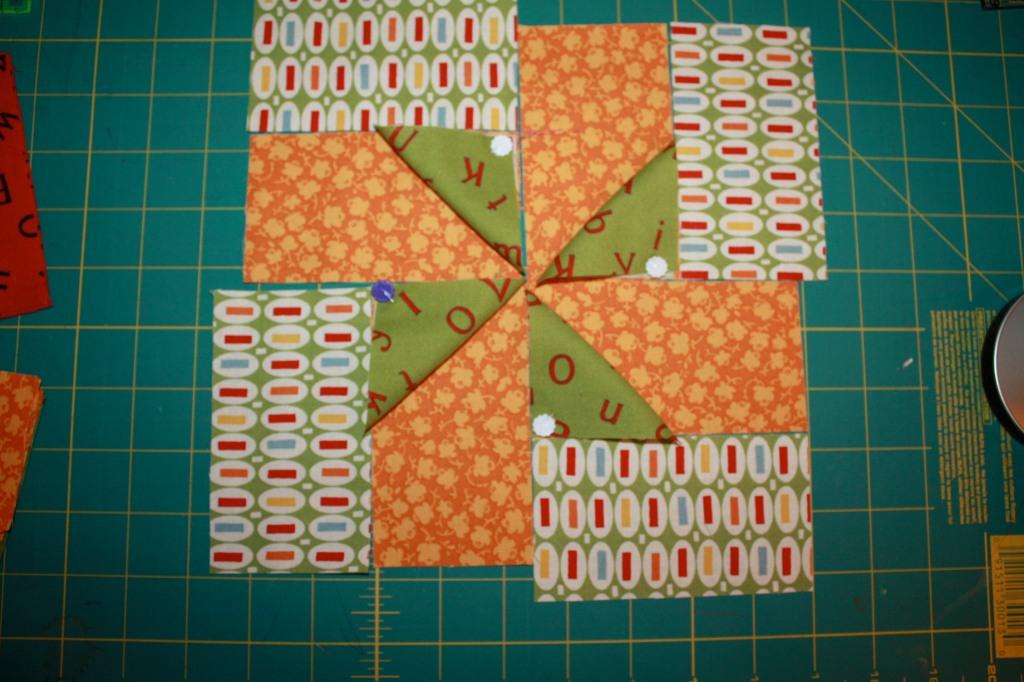 BLOCK THREE Zigs Pinwheels Multi Orange Green