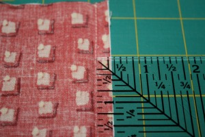 Measuring the seam allowance.