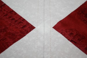 A close up of both stitching lines.