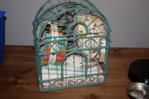 The bird cage where I keep soon to be used precuts.