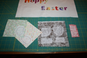 Applique shapes on wrong side of fabric.